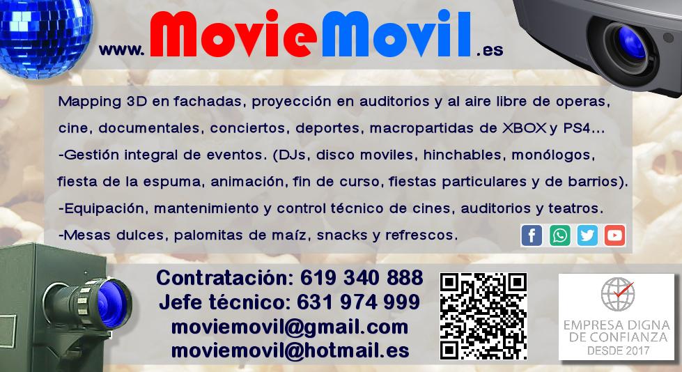 Tarjeta de visita Moviemovil la empresa del cine al aire libre. Contratación 619 340 888 email: moviemovil@gmail.com